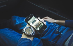 Picture black, Apple, watch, hand, phone, gadget, iPhone, Apple, iPhone 4