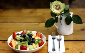 Picture berries, rose, food, kiwi, blueberries, strawberry, vase, mint, dessert, salad, fruit