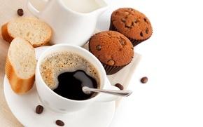 Picture coffee, cream, muffin, dessert, cakes, grain, sweet, cupcakes, bun