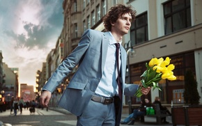 Picture flowers, street, people, yellow, costume, tie, tulips, male, curls