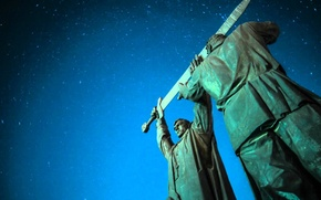 Picture space, mood, sword, The city, monument, statue, weather