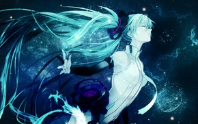 Picture night, girls, starry sky, Wallpaper anime, Miku Hatsune, The vocaloids, long hair on a Desk