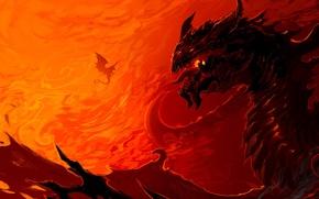 Picture fiction, fire, flame, dragon, art