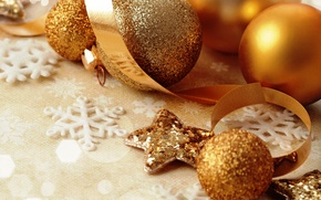 Picture decoration, balls, New Year, Christmas, golden, Christmas, balls, decoration, Merry