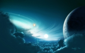 Picture light, blue, planet, Sci Fi
