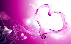 Picture glare, pink, heart, heart