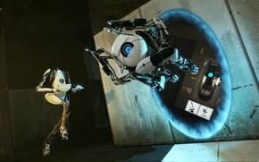 Picture robot, Atlas, portal 2, portal 2, portal gun, bee bodysuit