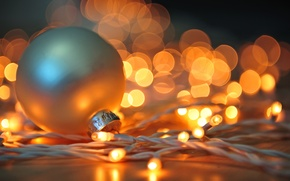 Picture toy, garland, New Year, holidays, light, winter, white, Christmas, lights, bokeh, New Year, Christmas, ball, ...