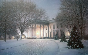 Picture winter, light, snow, trees, house, Park, figure, Villa, tree, picture, the evening, lighting, art, drawings, ...