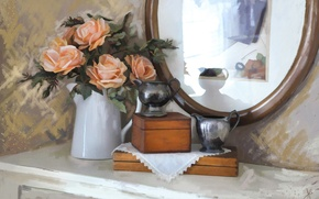 Picture roses, bouquet, texture, mirror