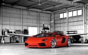 Picture orange, hangar, the plane, lamborghini, front view, orange, aventador, lp700-4, Lamborghini, aventador