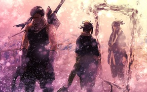 Picture winter, snow, weapons, sword, mirror, naruto, heroes, Naruto, flying, Mirror silence