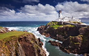 Picture storm, the ocean, rocks, lighthouse, The Fanad Lighthouse