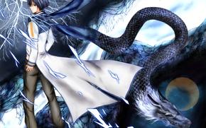 Wallpaper Vocaloid, art, guy, branch, dragon, the moon, Kaito, Vocaloid, the sky, stars