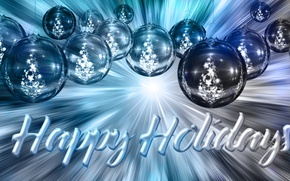 Picture balls, decoration, lights, letters, background, holiday, blue, the inscription, balls, toys, graphics, Shine, new year, …