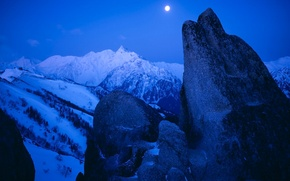 Picture snow, mountains, the moon, Winter