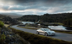Wallpaper Forest, Road, Aston-Martin