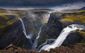 Picture river, canyon, gorge, waterfalls, Iceland
