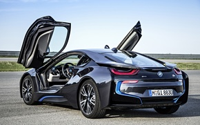 Picture BMW, future, black, road, sky, back, 2014, lambo door