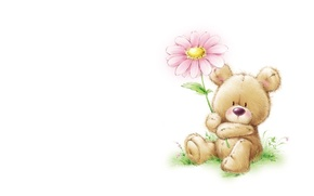 Picture summer, background, mood, art, children's, Marina Fedotova, bear. flower