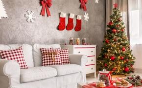 Picture Design, Sofa, New Year, Tree, Interior, Holidays