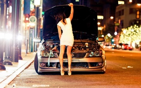 Picture road, machine, girl, lights, Lexus, on the street