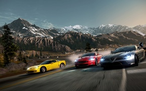 Picture road, race, turn, need for speed, supercars, hot pursuit