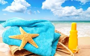 Wallpaper accessories, vacation, stay, sun, beach, beach, sea, bag, sea, vacation, summer, starfish, summer, the sun, ...