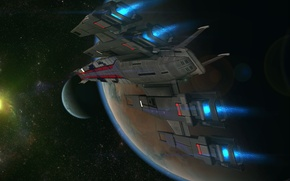 Picture space, planet, stars, Mass Effect, black widow, smuggleship, the starship Normandy