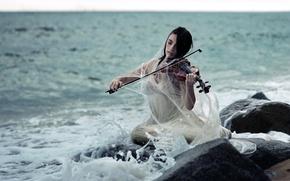 Picture sea, girl, violin
