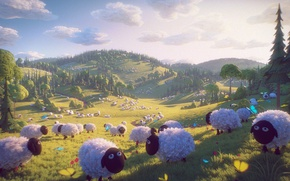 Picture nature, hills, sheep, 3d graphics