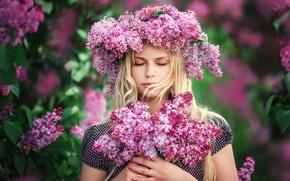 Picture girl, flowers, portrait, wreath, lilac, Lilac dreams