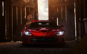 Picture the sky, red, lights, door, Dodge, Dodge, supercar, Viper, the front, GTS, Viper, SRT