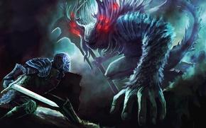 Picture monster, sword, art, battle, Dark Souls