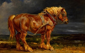 Picture clouds, horse, horse, red, painting, harness