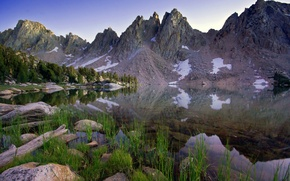 Wallpaper the sky, grass, water, snow, trees, landscape, mountains, nature, lake, reflection, stones, grass, sky, trees, ...
