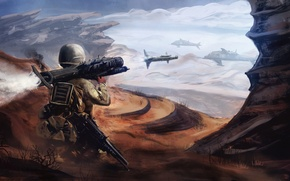 Picture Soldiers, Rocket, Fantasy, Shot