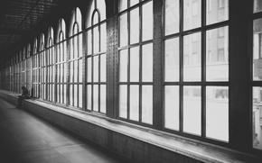 Picture windows, man, walk, black and white, human, guy, male, b/w