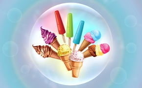 Picture bubbles, chocolate, ice cream, sweets, horn, gently, cream, waffles, vanilla, sundae, frozen juice