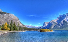 Wallpaper lake, the sky, mountains, island, trees, autumn, forest