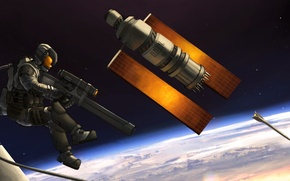 Picture space, weapons, satellite, art, astronaut, O. D. I. N.
