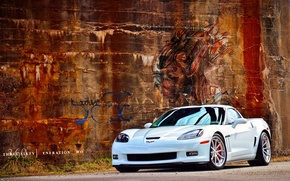 Picture white, wall, graffiti, Chevrolet, drives, By 360 Forged Willam Stern, 360 Forged GT V Spoke, …