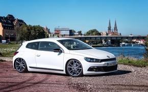 Picture car, Volkswagen, White, Scirocco