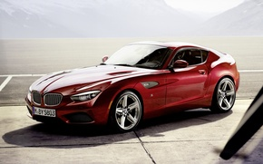 Wallpaper mountains, red, coupe, shadow, BMW, BMW, Coupe, the front, Zagato, Zagato