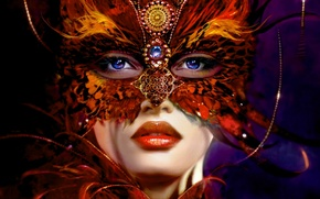 Picture decoration, Girl, mask, feathers blue eyes