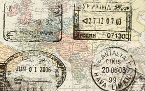Picture map, stamps, europe passport