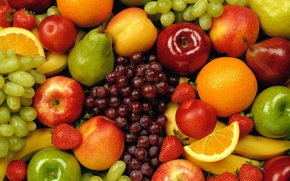 Picture oranges, grapes, Fruit, bright