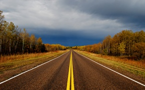 Picture road, the sky, trees, clouds, colors, Autumn, road, sky, trees, autumn