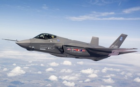 Wallpaper clouds, height, fighter, f-35