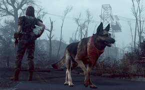 Wallpaper dog, Fallout-4, He got your back